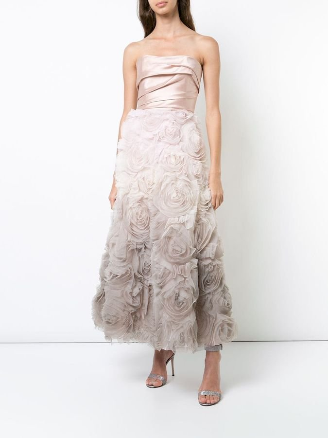Платья Marchesa Notte Strapless ombré gown
